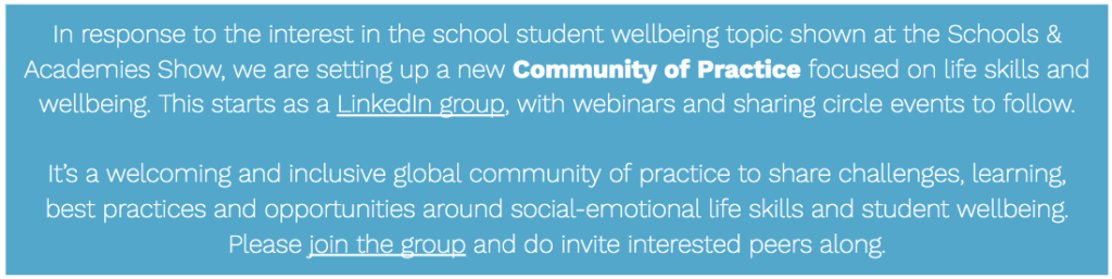 Life skills and student wellbeing community of practice